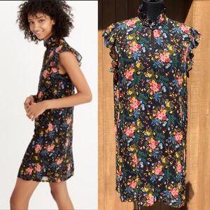 Madewell Silk Floral Sheath Dress w Ruffle Sleeves